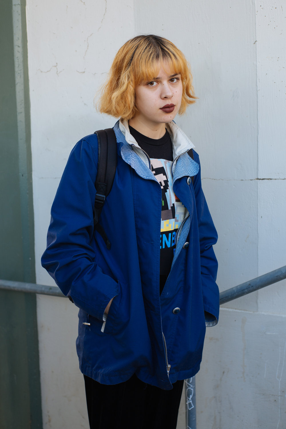 Student on college campus, East Los Angeles, California 2016