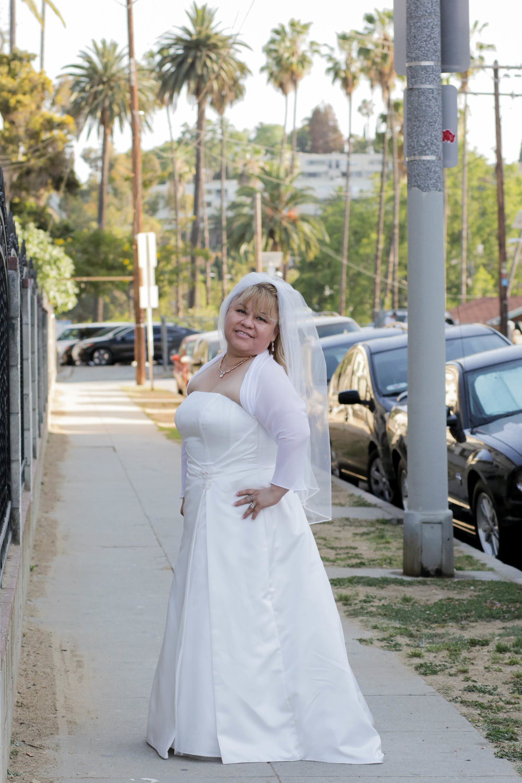 Bride on the sidewalk, Echo Park, California 2017