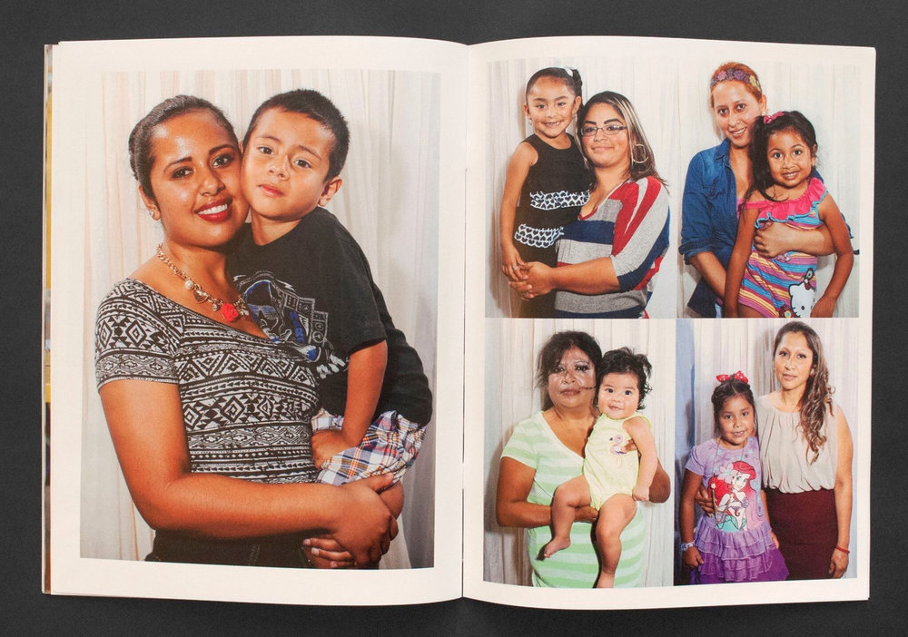 A full page and four image layout of mother-child portraits made in a a flea market studio.