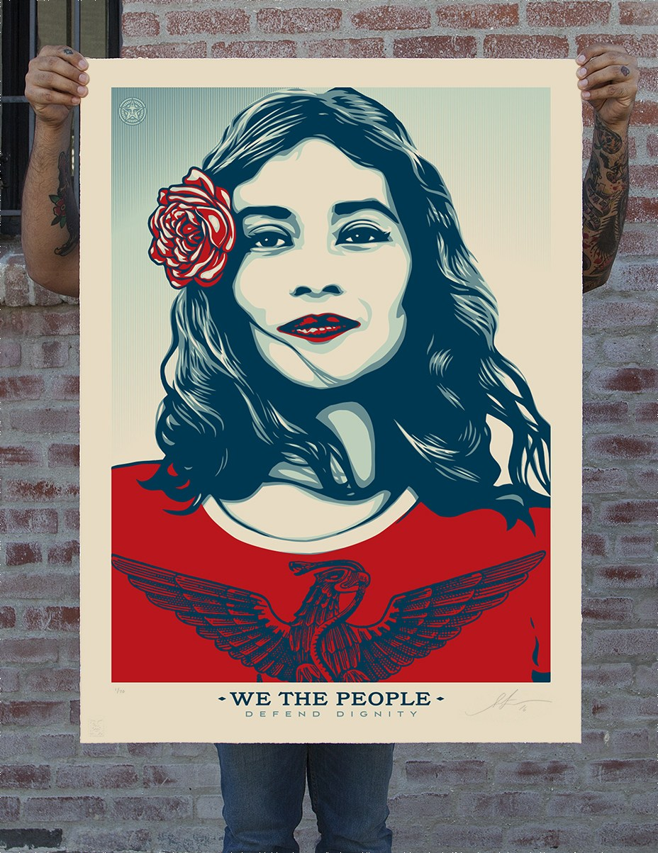 Large screen print of We the People - Defend Dignity.