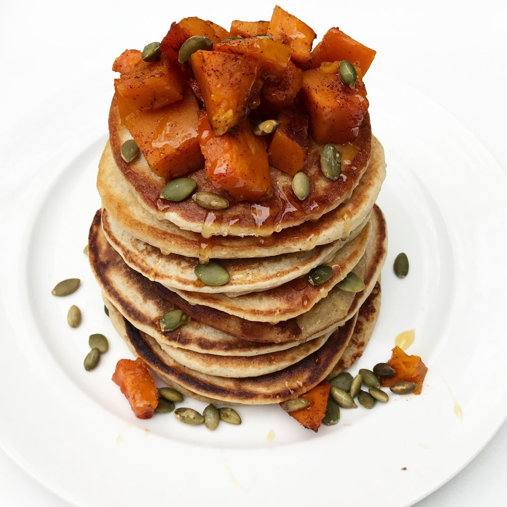 Roasted Butternut Squash Pancakes by Julie Lichtman