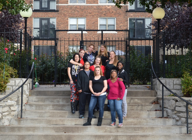 Amethyst Place clients in front of the apartment complex designed by Nelle Peters (Photo: Amethyst Place, 2015)