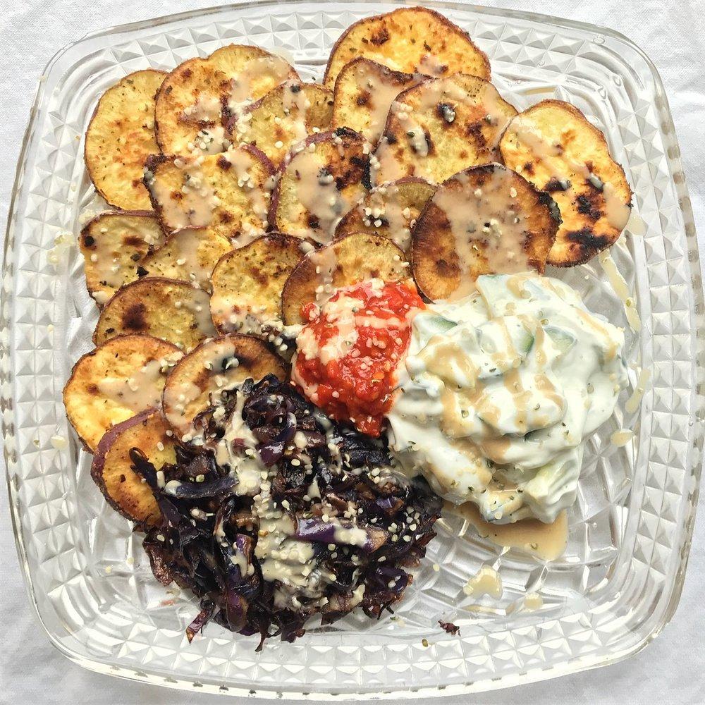 mediterranean nacho plate