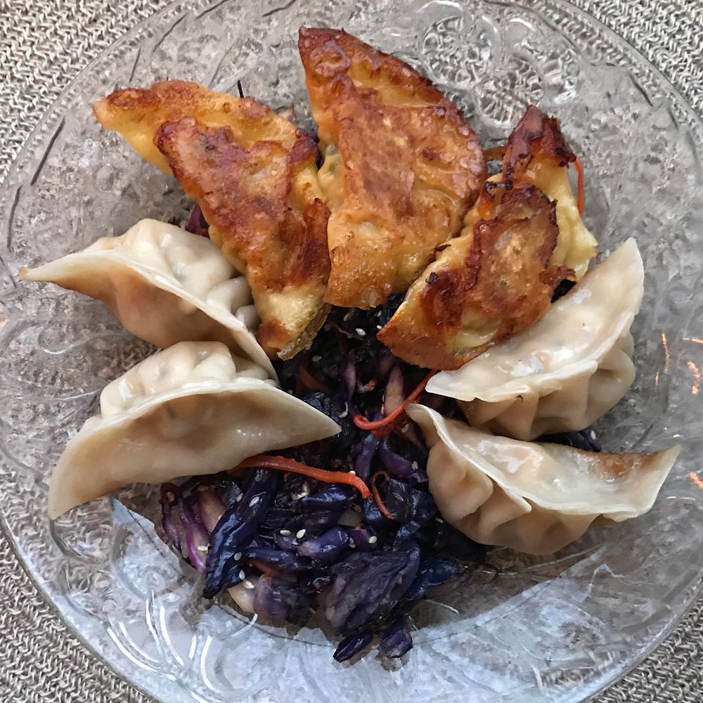 "dumplings & roasted cabbage ""mein"""