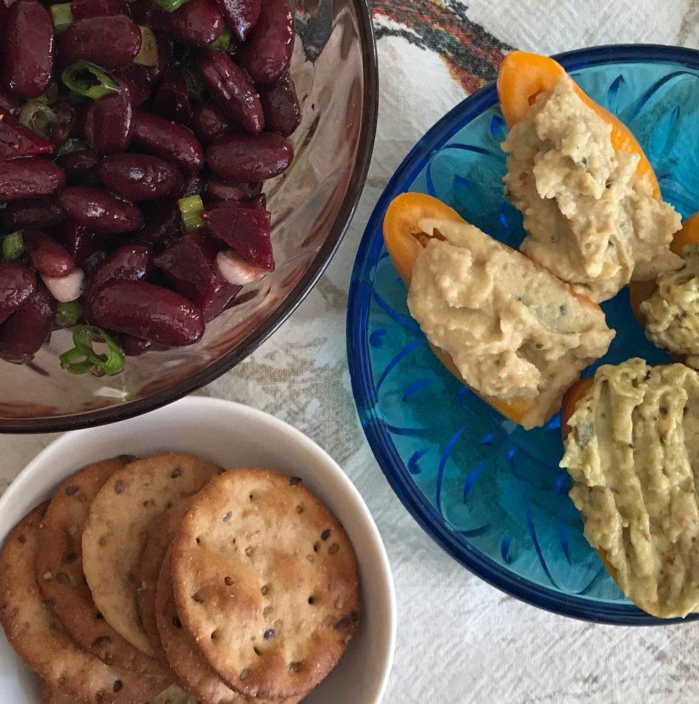 beet salad + hummus stuffed peppers