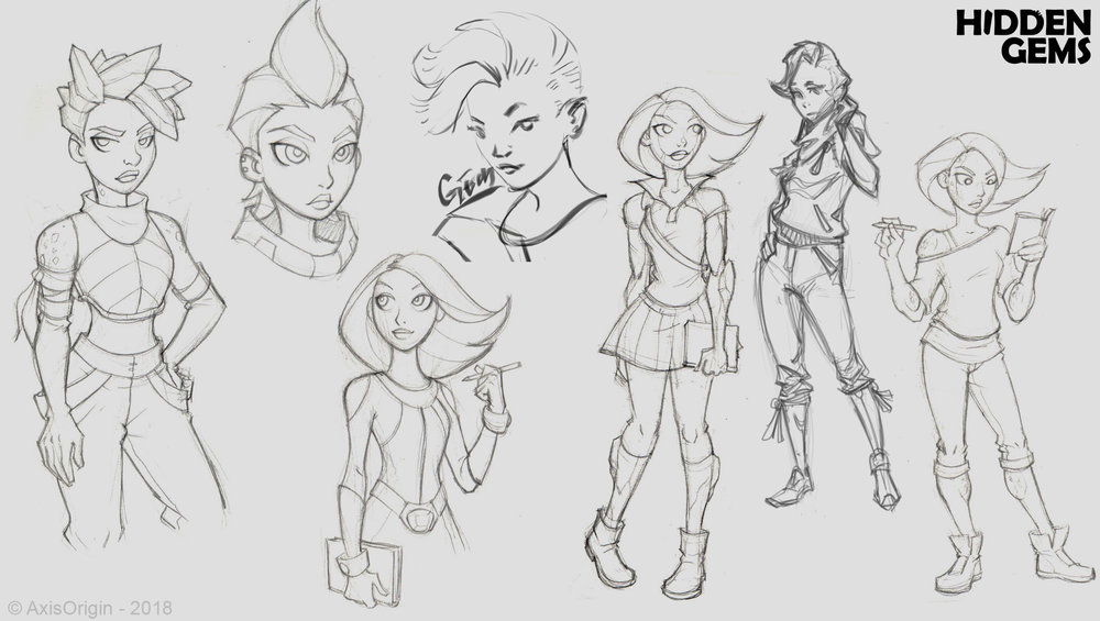 Early Gem Character Designs by Joel Sigua and Jose-Luis Segura