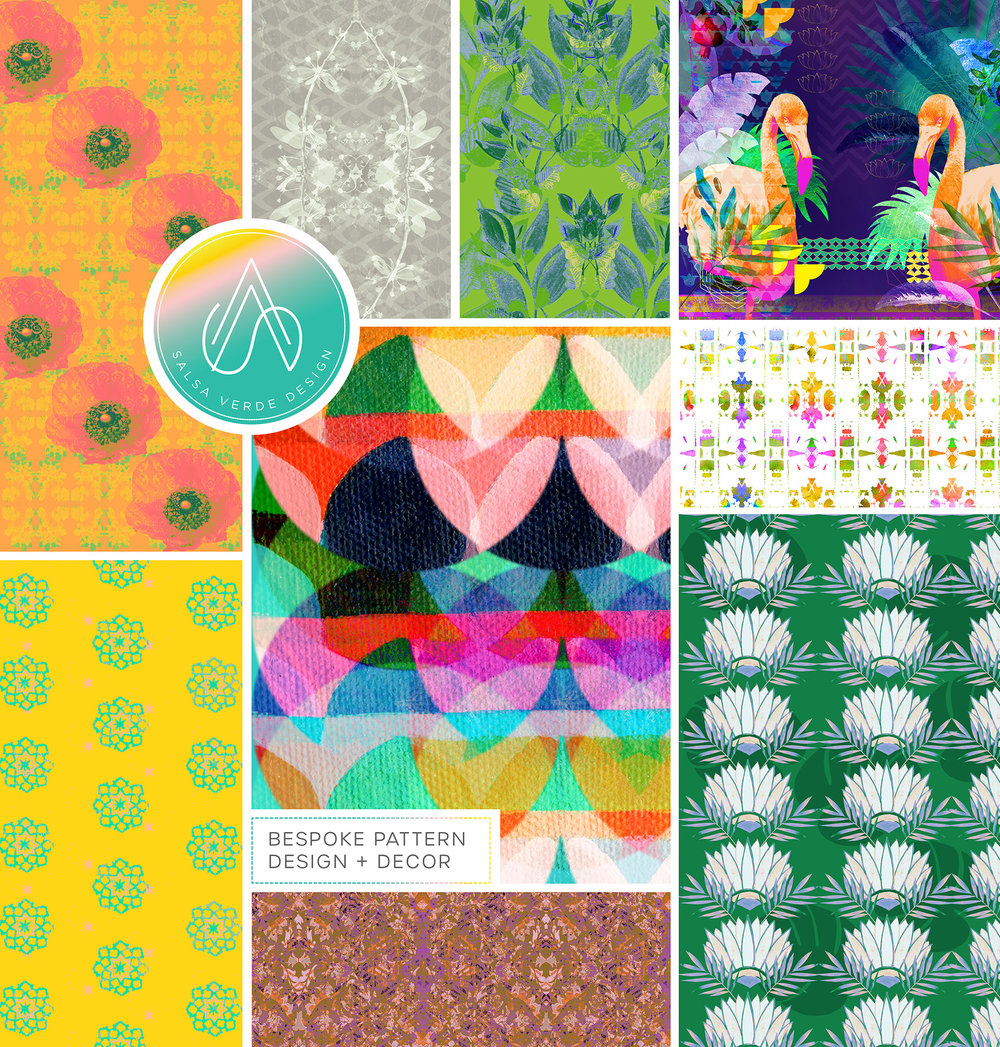 we create bespoke pattern designs + decor - … FOR INTERIORS, TEXTILES & PAPER GOODS.Put simply, we are visual story-tellers, inspired by nature, travel and this beautiful world we inhabit. Vibrant colour palettes and bold patterns that burst with personality, optimism and energy are what gets us going.