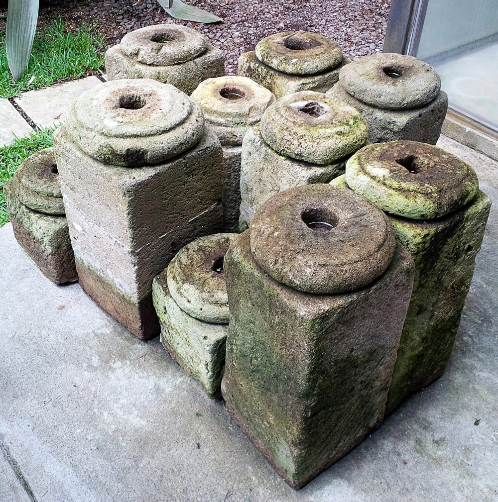 Antique stone column bases, on the way out June 2014