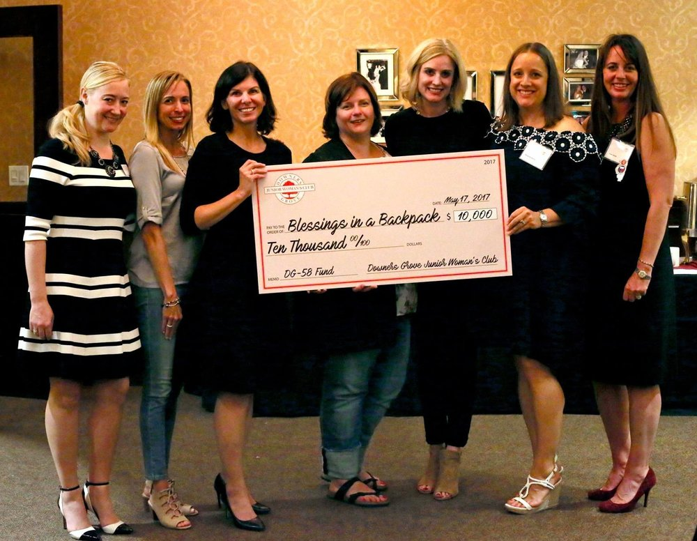 Blessings in a Backpack was awarded the 2017 Downers Grove Junior Woman's Club $10,000 Special Grant.