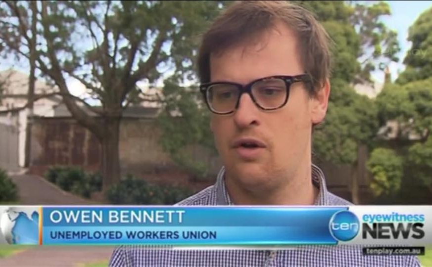 AUWU  - Owen Bennett and Jeremy PoxonThe Australian Unemployed Workers Union (AUWU) provides support for unemployed people who have difficulty navigating the increasingly complex and punitive welfare system. They run a phone and email support service, and advocacy campaigns to amplify the voices of unemployed people and put pressure on MPs to represent their interests.