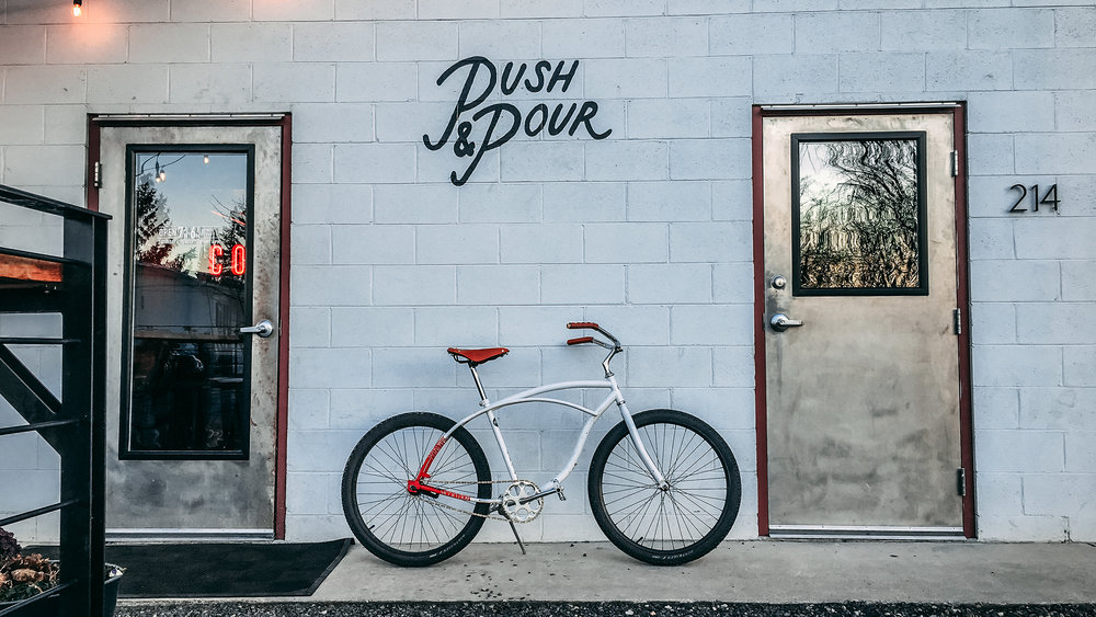 Oliver Bicycle Works at Push and Pour Coffee. Garden City, Idaho. March 2019.