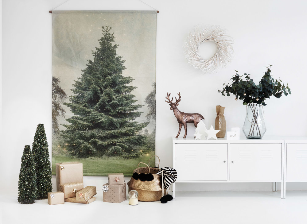 CHRISTMAS CHART, BASKET + CHRISTMAS STOCKING, MINI TREES, REINDEER, STARS, FAUX LEAVES -  HAMPTONS AT HOME  VASE - WEST ELM CABINET - IKEA