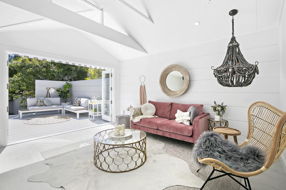 Wall Cladding |   Scyon Stria   Chandelier |   Hamptons at Home   Flowers |   Faux Flower Company   Sofa |   Oz Design Furniture   Mirror |   Oz Design Furniture   Flooring |   Belle Laminate in Alpine Oak Ice Grey   Godfrey Hirst