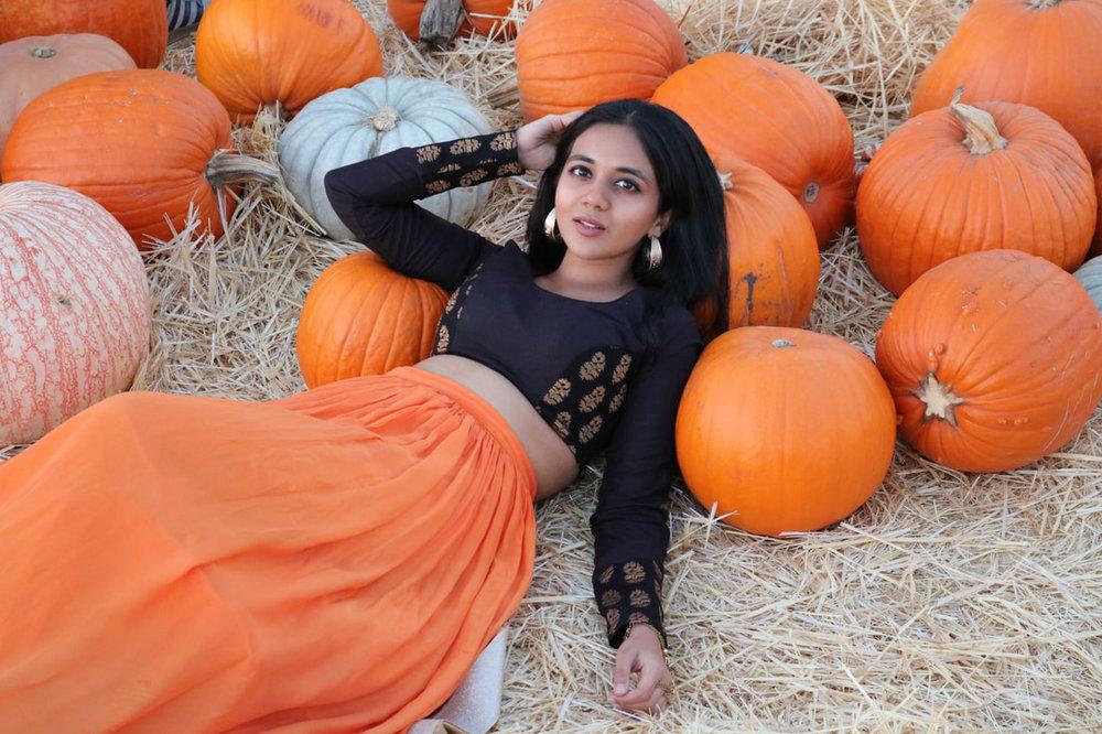 Orange-lehenga-black-blouse-halloween-diwali