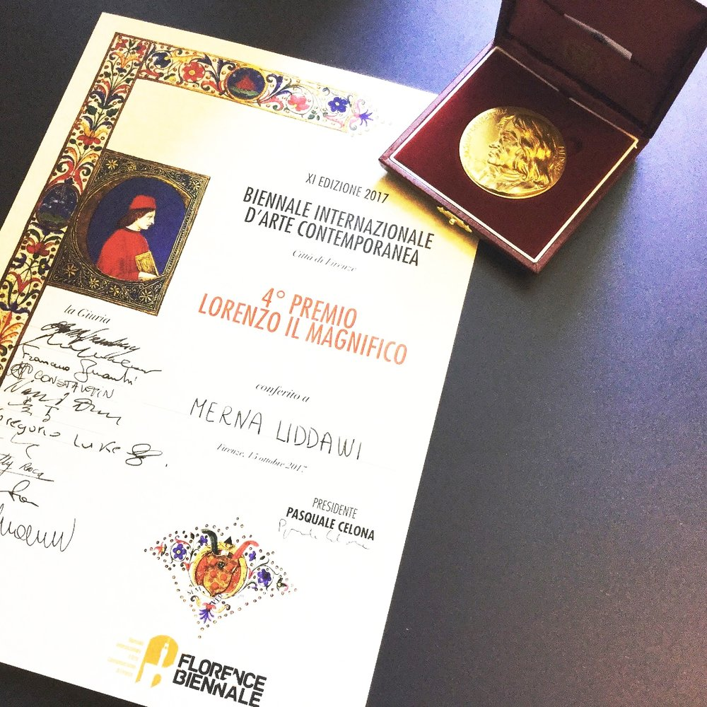 'Lorenzo il Magnifico' Award - I am blessed and grateful to win this prestigious award in 2017 at 'Florence Biennale' in Italy. Out of 460 talented international artists, I got 4th place painting award.From a math teacher with a Science degree to an Award Winning Artist with a passion for peace and beauty. How I got there.