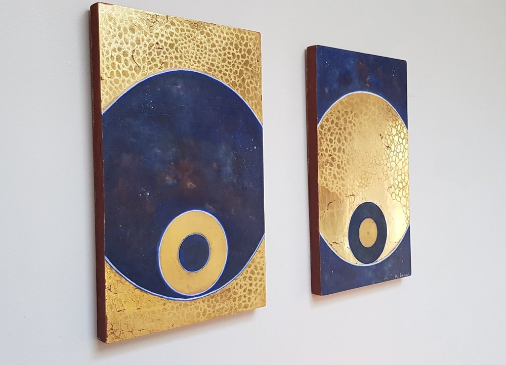 Divine Cosmos Diptych  23.5 ct gold leaf, egg tempera, true gesso on birch plywood  33.5x21 cm each