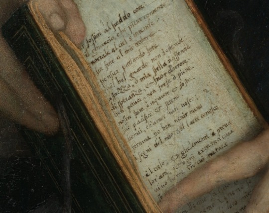 Andrea del Sarto,  Lady with a book of Petrarch's rhyme , detail, 1528