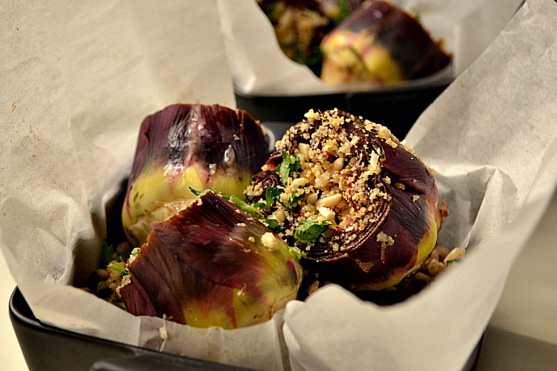 Baked Stuffed Artichokes with Brown Rice & Spinach