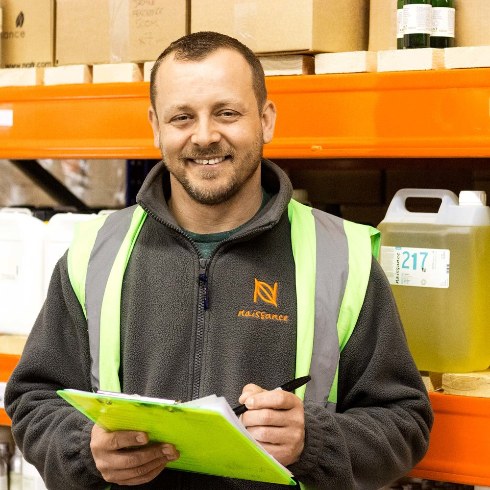 "Chris Logan  Warehouse Operative   ""My role within the warehouse team has been interesting and varied since I joined Naissance in December 2017.  From picking and packing orders for both our fulfilment centres (UK and Germany) and helping with stock taking, stock rotation and location assignment. I now primarily look after the orders for our wholesale customer base and liaise with various teams within the business, to ensure that orders are fulfilled as efficiently as possible. What I like about working at Naissance is working with some great people.  The business is constantly moving forward and being part of such a rapidly changing company is both challenging and rewarding.""    Favourite product:   ""Argan and hemp oil, both are great for your beard & skin  """