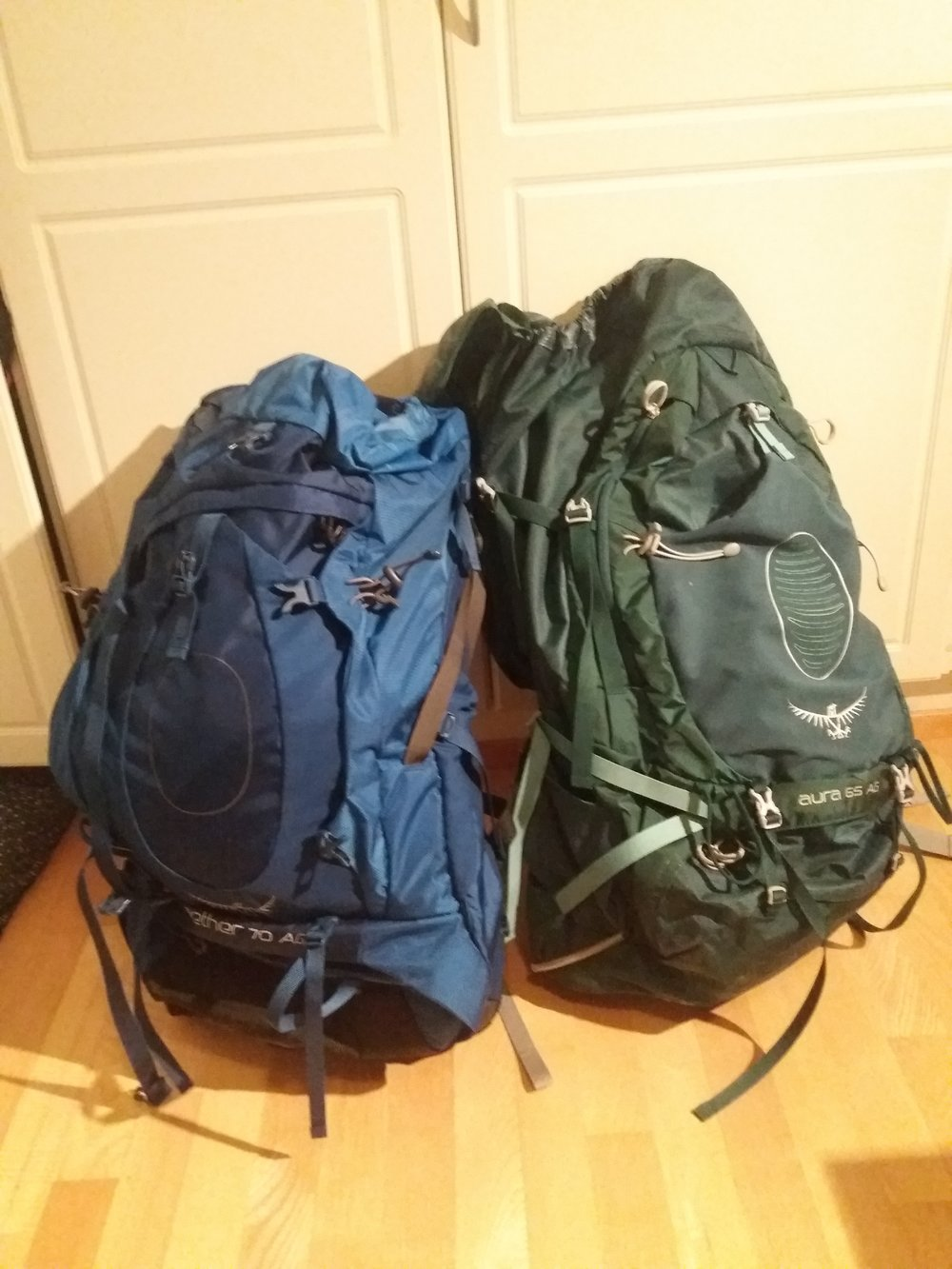 wE BOUGHT THESE AT FIRST. wE TRIED ON SEVERAL DIFFERENT BACKPACKS, BECAUSE ESPECIALLY WHILE HIKING BACKPACK NEEDS TO suit well. we decided to choose these; Osprey aura 65 liters for jenna and osprey aether 70 liters for eemeli. everything should fit in these.