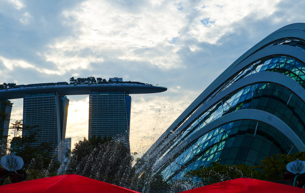 Marina Bay Sands and the Gardens by the Bay Flower Dome. Singapore.