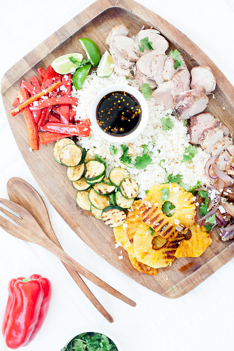 GRILLED HAWAIIAN PORK BOWLS with COCONUT STICKY RICE | Grilled veggies, pork tenderloin, and pineapple with a honey-soy sauce. | Gluten-free and paleo friendly. | LOVELEAF CO. #memorialday #bowl #pork #pineapple #grilling #grillingrecipe #porkrecipe #porktenderloinrecipe