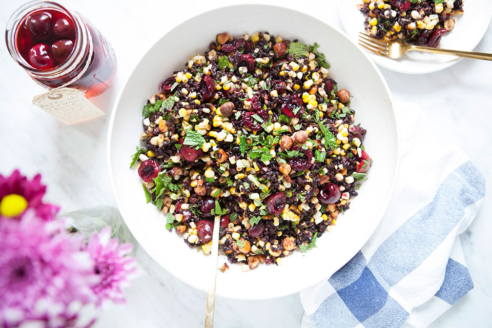 Black Rice Salad with Pickled Cherries + Hazelnuts | Vegan, gluten-free. | Loveleaf Co. | www.loveleafco.com