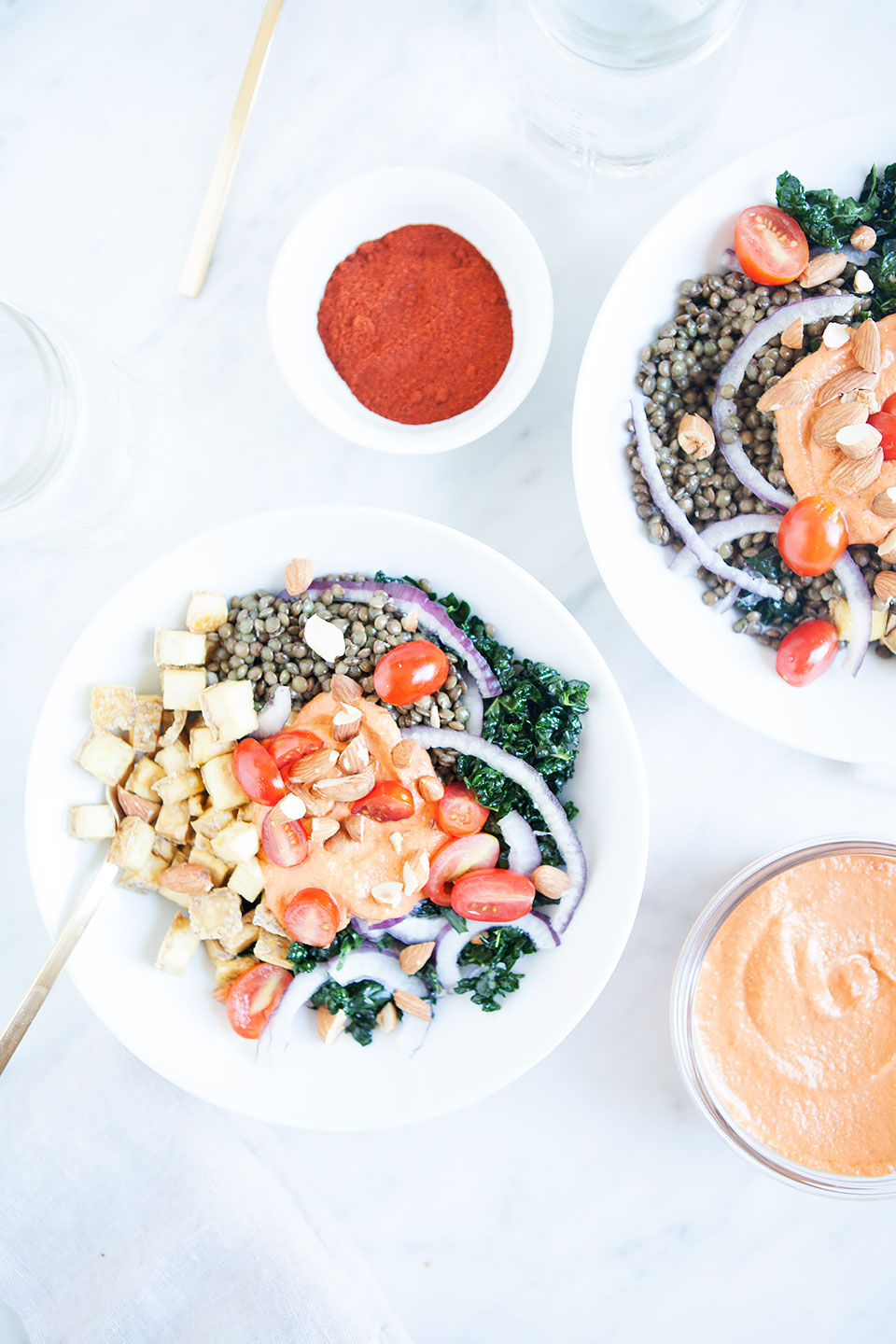 Lentil Tofu Bowls with Smoky Romesco Sauce | Gluten-free and Vegan. | Loveleaf Co.