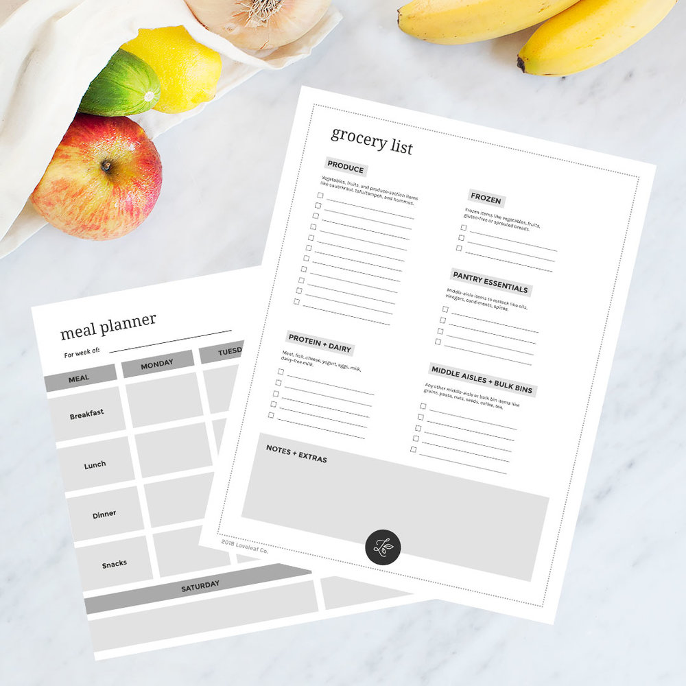 FREE Printable Weekly Meal Planner and Grocery List. Click to download! | Loveleaf Co. | #mealplan #mealplanning #mealplanner #grocerylist #shoppinglist #template #printable #download