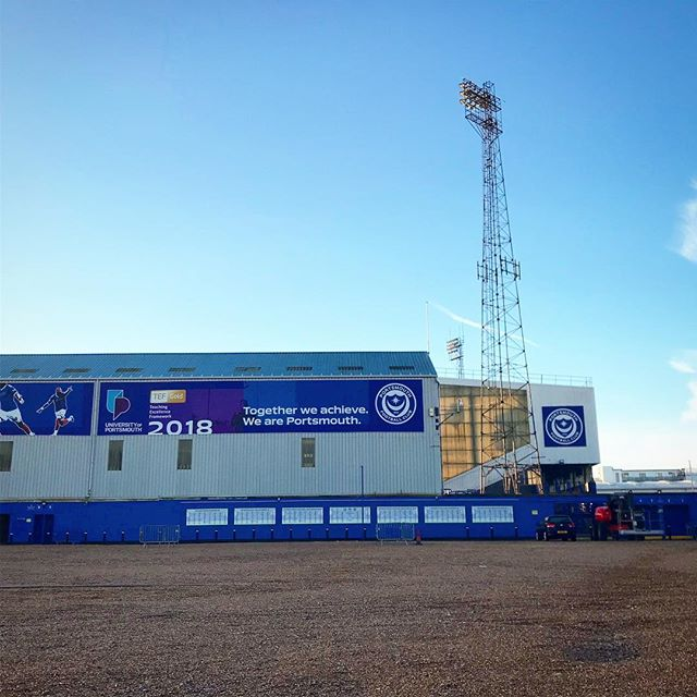 Arrived a bit early for work this morning! Excited to be spending a full day here with the team ! . . . #Fratton #FrattonPark #Pompey #Portsmouth #Portsmouthfootballclub #UOP #TogetherWeAchieve #Football #Early #Work #Multimedia #Producer #Production
