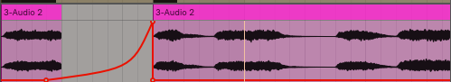 This is a a dry wet automation curve that starts on the ending of the chord and sweeps up into the next chord. This is a reverb throw!