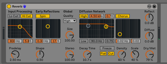 Here are my setting for the reverb on the chord chunk audio track.