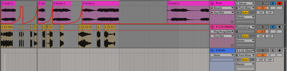 Add a delay to the arpeggiated audio track and then create another audio track underneath. Make the input of that track be the arpeggiated audio with delay plug in, arm it and then record.
