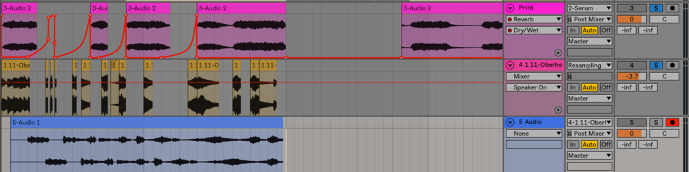 the third track down is the rendered audio from the delay we added to the chopped arps.