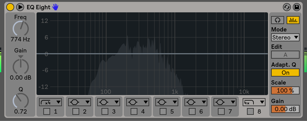 This is abletons' eq 8, which is a visual parametric equalizer. Each box and corresponding number on the bottom of this eq represents a node point. When a node is activated you can then alter the paramters. Notice how node 8 is selected (but not turned on yet) and how on the far left you can see freq, gain and Q knobs. When we finally activate node 8, we will then be able to tweak those parameters.
