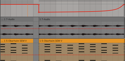 You can also keep your automation points simple. Here is the same idea, but instead of having the filter wobble, it simple drops down and slowly sweeps up. Notice the curve.