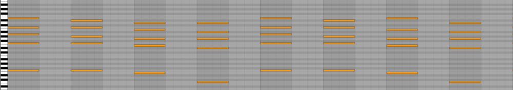 These are the chords that more or less repeat throughout the entire track. It switches in and out of C major A minor in to C minor.