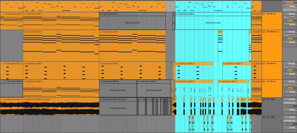This is the chord and melody section of the track. The section highlited is the B section. It's a pretty obvious difference. The B section has a lot of staccato parts that happen frequently while the part leading up to the B section are longer chords with less movement.