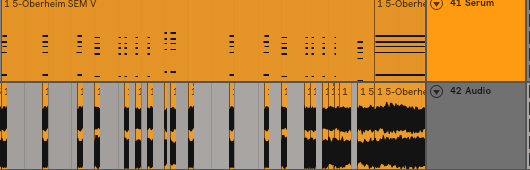 Notice how the chopped audio lines up with the midi above in order to emphasize this groove.