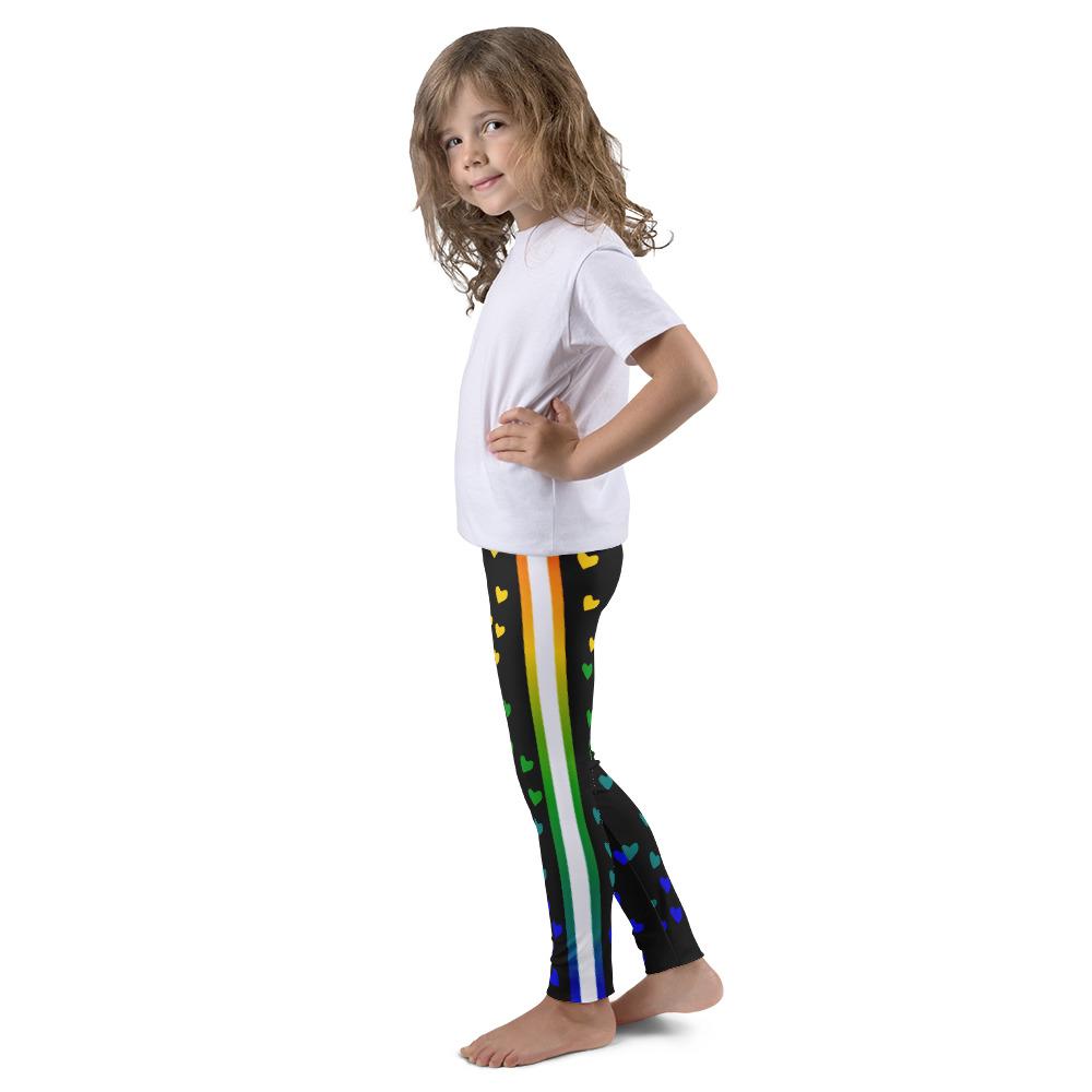 Rainbow Heart Kids Capri Leggings