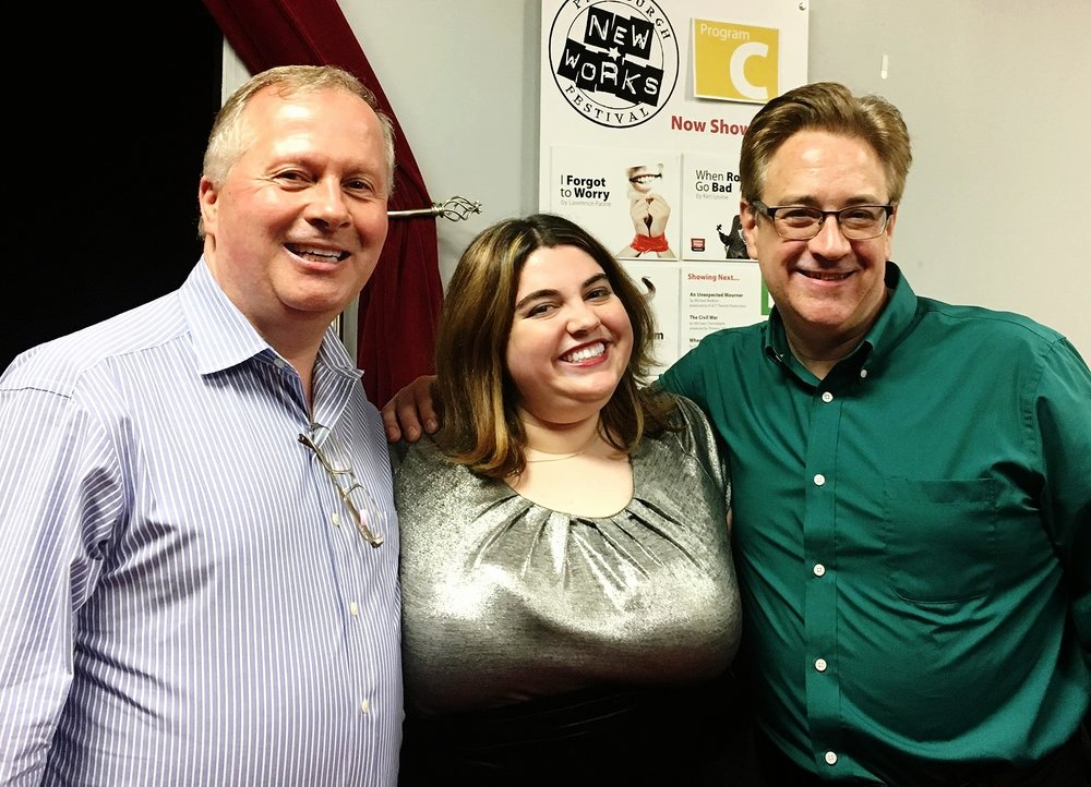 Playwright Lawrence Paone with stage manager Rachael Ellis and director Joe Eberle