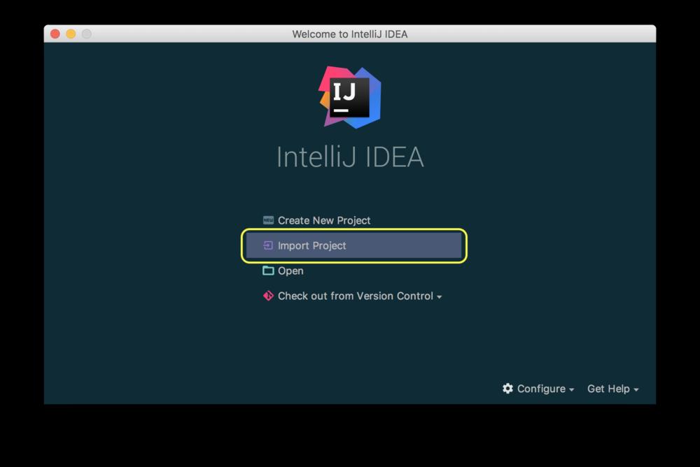 Import project from IntelliJ start window.