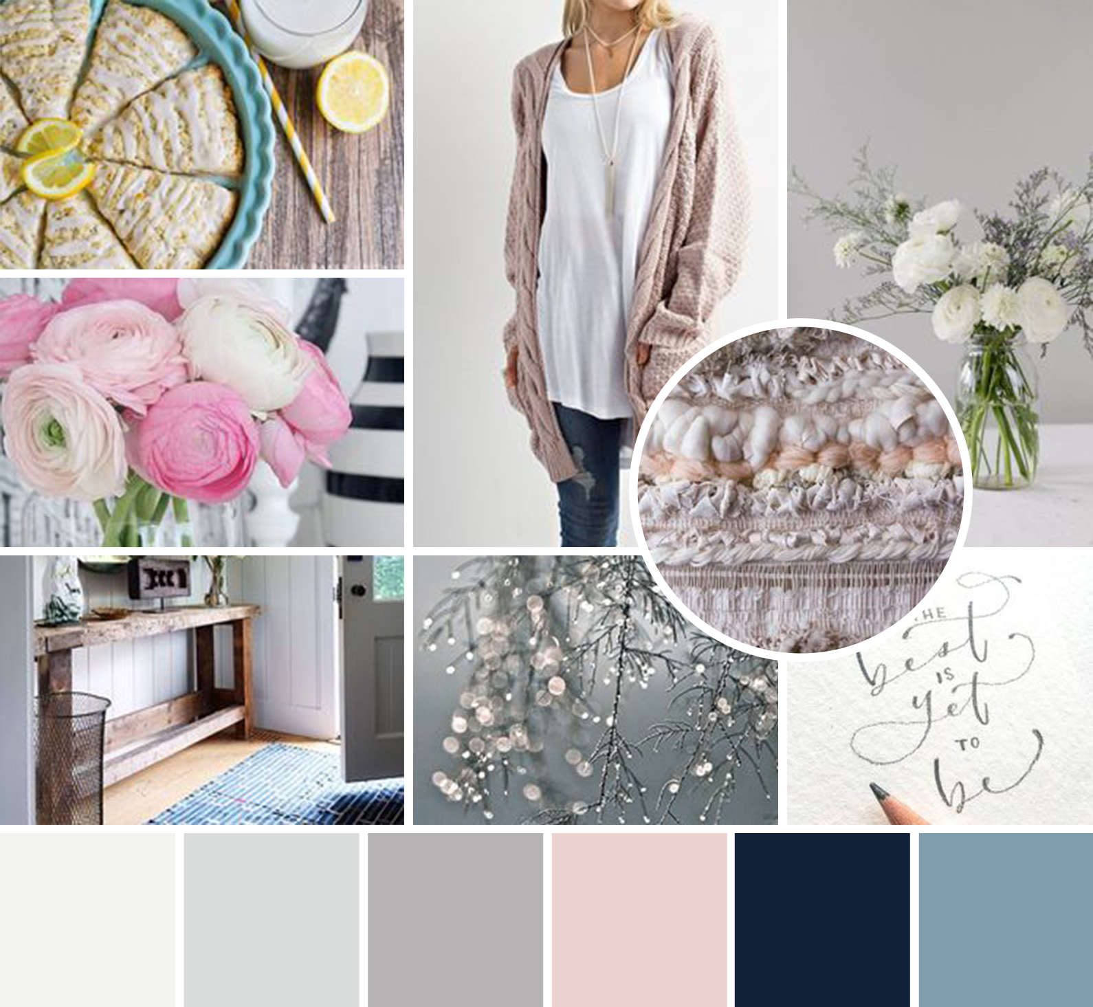 mood board for branding client with pink and blue romantic tones