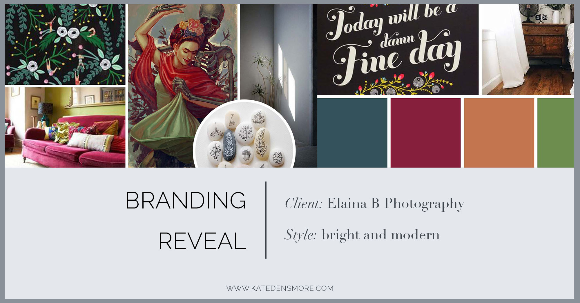 branding reveal board for a bright, modern photography brand