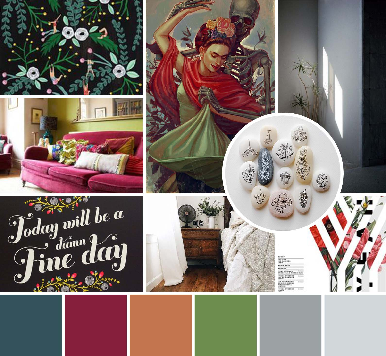 bright, bold, and modern mood board design