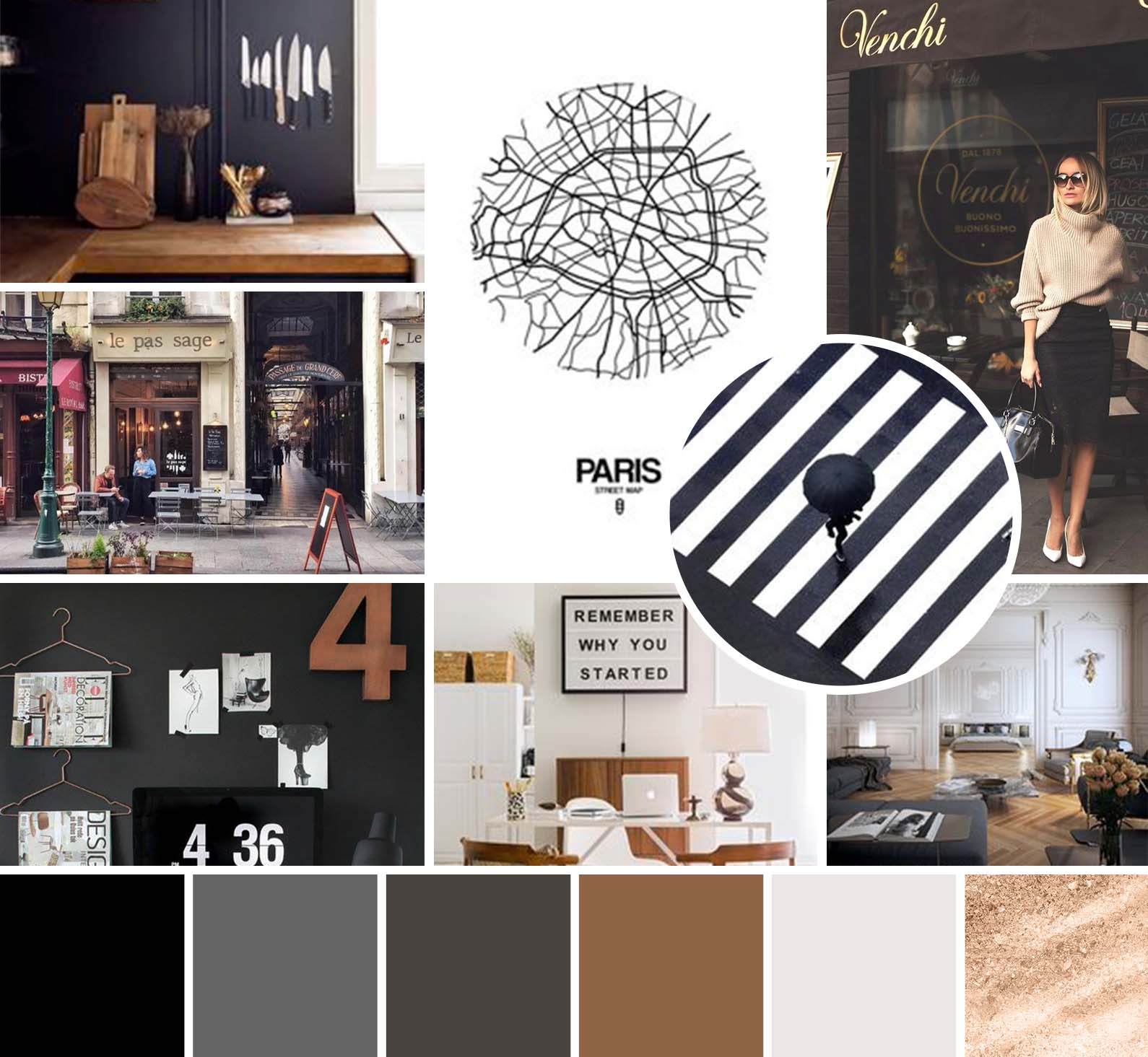 mood board for a photographer with warm browns, sophisticated blacks, and a touch of sparkle for a Parisian, high end feel