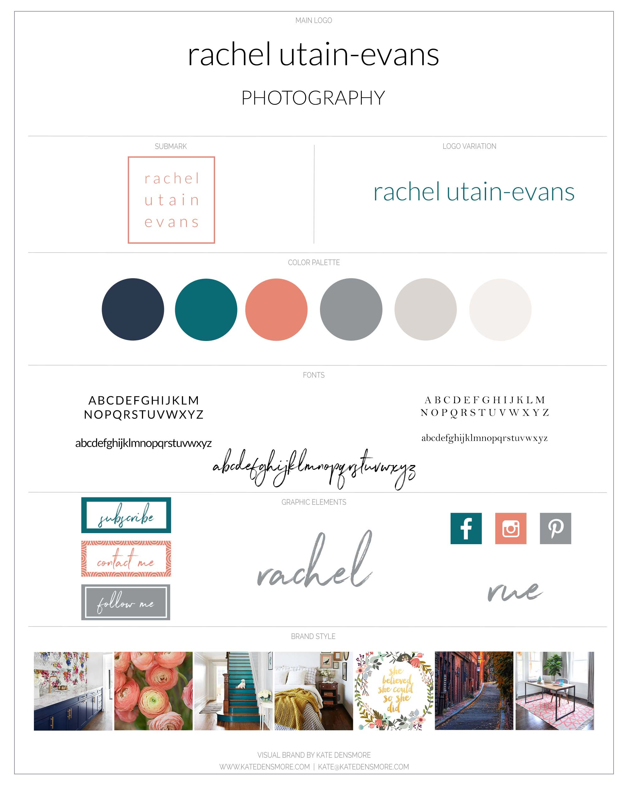 unique branding for a documentary family photographer featuring soft coral and teal