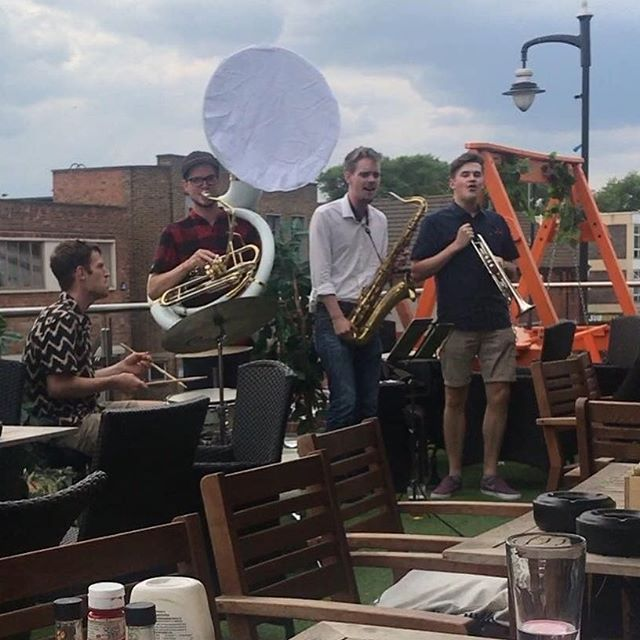 Thanks to @cocotina30 enjoying a @martinmillersgin #ginandtonic with a #brassband #gingarnish at @buttonfactorybirmingham #alfresco #ginweekend #gininthecity #ginparty