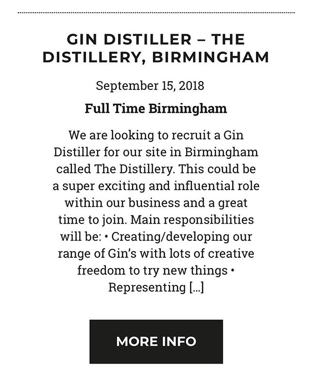 Fancy a #changeofcareer #birmingham seeks a #gindistiller #gin #gintaster #ginmaster @mosaicpubanddining @distilleryb16 #ginmasterclass #ginguru