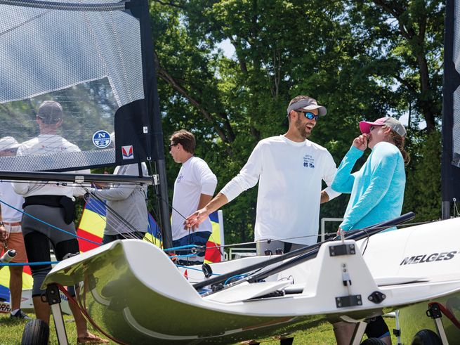 Those already in the Melges 14 class enjoy the camaraderie ashore that seems to be present at every class gathering. Photo by Melges / Hannah Lee Noll